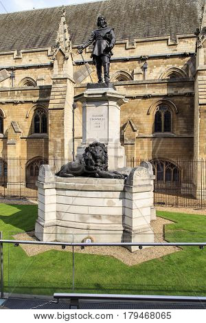 LONDON, GREAT BRITAIN - SEPTEMBER 19, 2014: It is a monument to Oliver Cromwell at the walls of the Parliament of Great Britain.
