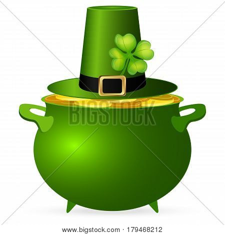 Pot of money and a hat with a clover for St. Patrick's Day ector