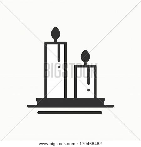 Candle line outline icon. Two burning candles with a bright flame. Light burn wax. Vector simple linear design. Illustration. Flat symbols, sign. Thin element