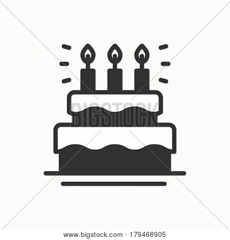 Birthday cake, pie with candles icon. Happy birthday. Party celebration birthday holidays event carnival festive. Line party element icon. Vector linear design. Illustration. Symbols. Congratulation