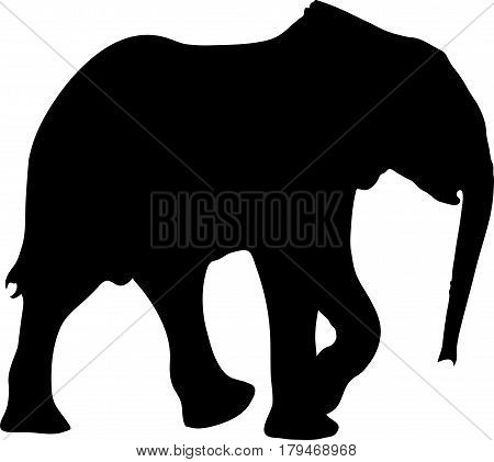 Silhouette of a small cute baby elephant, hand drawn vector illustration isolated on white background