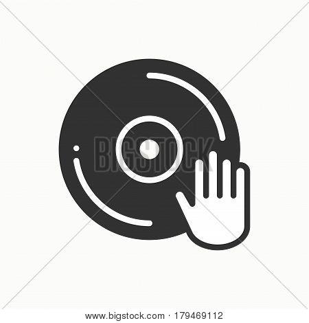 DJ disk jockey turntable icon. Vinyl record disco dance nightlife club. Party celebration birthday holidays event carnival festive. Line party element icon. Vector linear design. Illustration symbols
