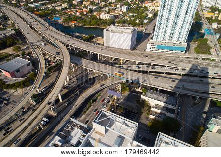 Aerial photo of a highway interchange in Miami Florida Downtown
