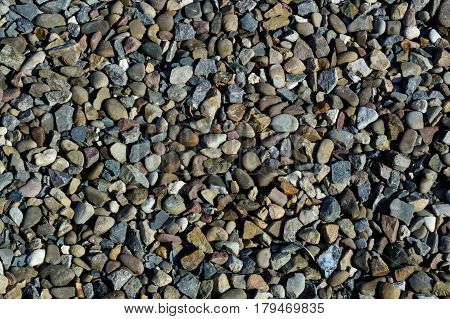 Nature background from gray sea pebbles. Texture