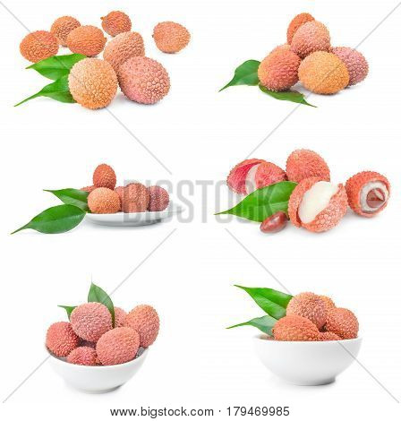 Collection of ltchi chinensis over a white background