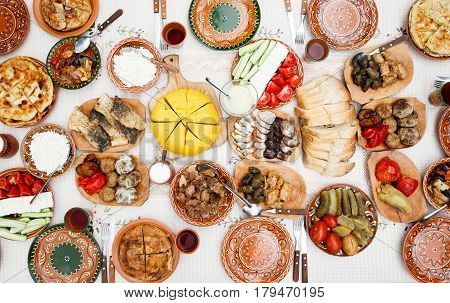 Variety of homemade moldavian food on the table