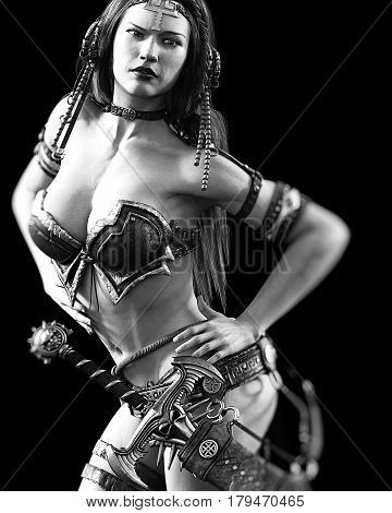Warrior amazon woman sword. Long dark hair. Muscular athletic body. Girl standing candid provocative aggressive pose. Photorealistic 3D rendering isolate illustration. Hi key. Black white.