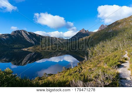 Mountain Landscape With Lake And Hiking Path