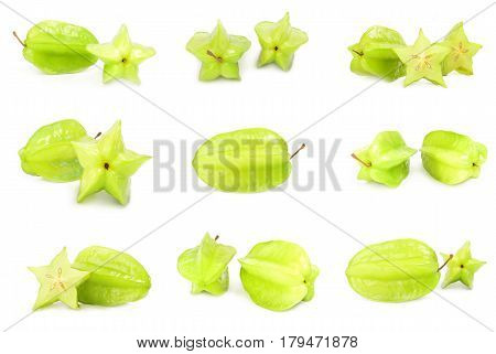 Collection of starfruit   isolated on a white background cutout
