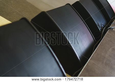 Speaker system, black speakers in front of the stage, concert displays a close-up. The organization and conducting concerts and artists performances. Musical equipment. Soft focus.