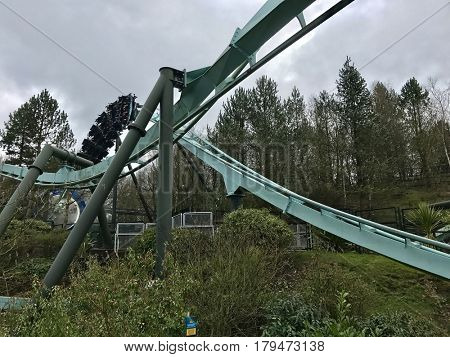 ALTON TOWERS - MARCH 30, 2017: Galactica, a virtual reality roller coaster at Alton Towers Resort in Staffordshire, England, UK. The ride formally known as Air and was built by Bolliger & Mabillard.