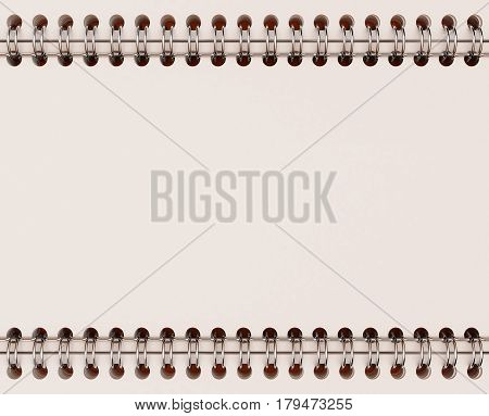 3D Illustration of Blank Notepad with spring on color background