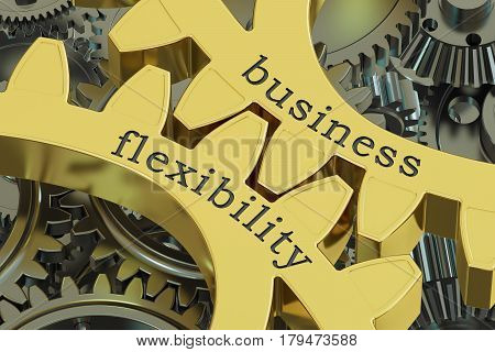 Business Flexibility concept on the gearwheels 3D rendering