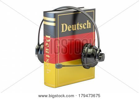 German language textbook with headset learning and translate concept. 3D rendering