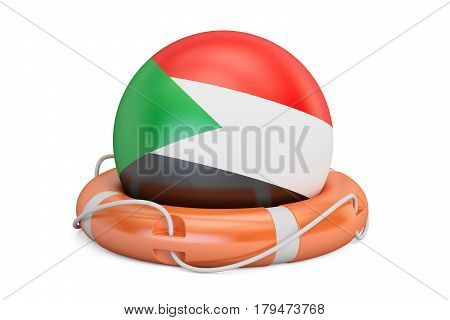 Lifebelt with Sudan flag safe help and protect concept. 3D rendering