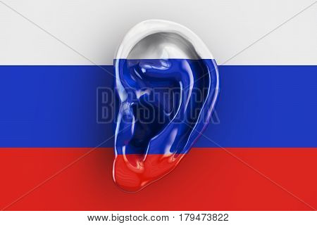 Russian intelligence concept ear on the flag of Russia. 3D rendering