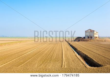 Rural Italian Landscape From Po River Lagoon.