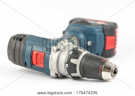 Acu Battery Drill Tool Isolated Over White Background