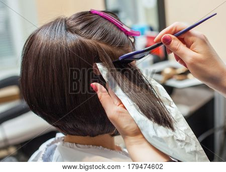 The Hairdresser Paints The Woman's Hair In A Dark Color, Apply The Paint To Her Hair In The Beauty S