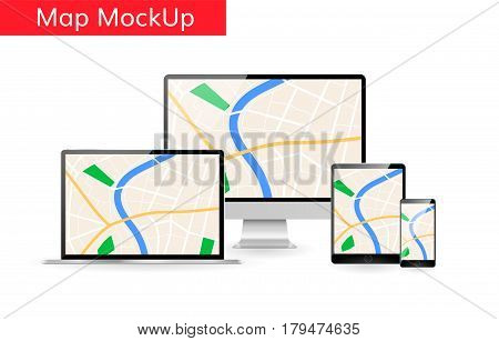 Gps city map on computer laptop tablet screen Responsive design mockup