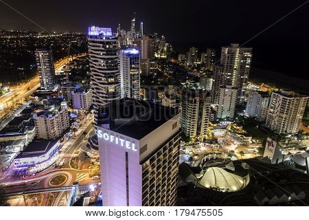 GOLD COAST, AUSTRALIA - MARCH 31 2017: Aerial nightscape view looking north from Broadbeach to Surfers Paradise