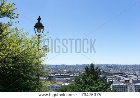PARIS, FRANCE - August 7, 2016 : beautiful Street view of  Montmartre in Paris, many artists had studios or worked in or around Montmartre. August 7, 2016, Paris, France.
