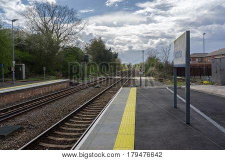 Mortimer, UK. 1st April 2017. Platform at Mortimer Station in Berkshire. The station is served by trains between Basingstoke and Reading.