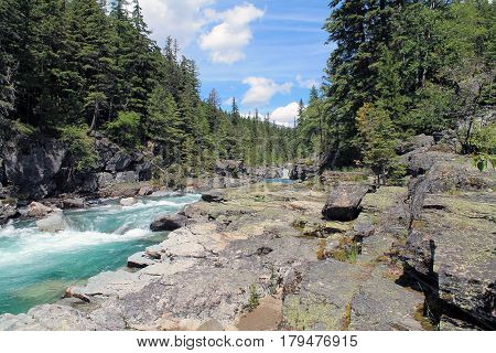 Spring Runoff Through a Rocky Riverbank in an Evergreen Forest