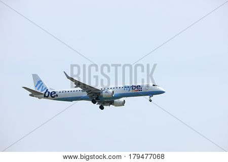 Amsterdam the Netherlands - March 31st 2017: G-FBEH Flybe Embraer ERJ-195 approaching Polderbaan runway at Schiphol Amsterdam Airport the Netherlands