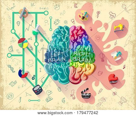 Cartoon human brain diagram concept with left logic and right creative hemispheres and colorful icons vector illustration
