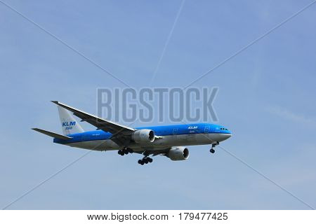Amsterdam the Netherlands - March 31st 2017: PH-BQF KLM Royal Dutch Airlines Boeing 777 approaching Polderbaan runway at Schiphol Amsterdam Airport the Netherlands