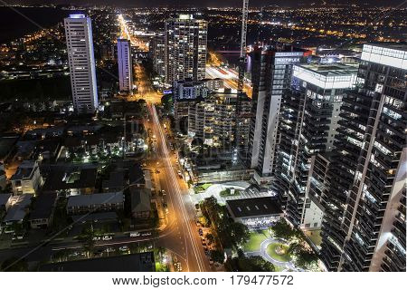 GOLD COAST, AUSTRALIA - MARCH 31 2017: Broadbeach aerial nightscape facing south