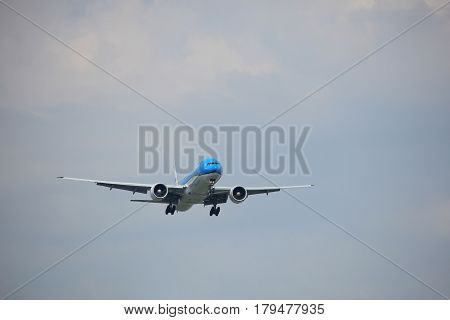 Amsterdam the Netherlands - March 31st 2017: PH-BVB KLM Royal Dutch Airlines Boeing 777-300 approaching Polderbaan runway at Schiphol Amsterdam Airport the Netherlands