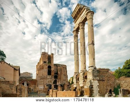 Ruins of Temple of Castor & Pollux at Roman Forum, Rome, Italy
