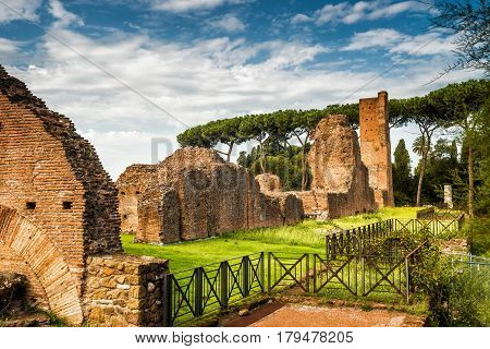 Ruins of the ancient palace on the Palatine Hill near the Roman Forum in Rome, Italy