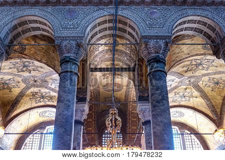 ISTANBUL - MAY 25, 2013: Interior of the Hagia Sophia in Istanbul. Hagia Sophia is the greatest monument of Byzantine Culture. It was built in the 6th century.
