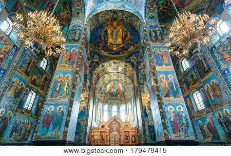 ST PETERSBURG, RUSSIA - JUNE 13, 2014: Interior of church of the Savior on Spilled Blood (Cathedral of Resurrection). It is an architectural landmark of city and a unique monument to Alexander II the Liberator.