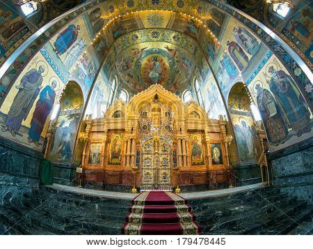 ST PETERSBURG, RUSSIA - JUNE 13, 2014: Interior of the Church of the Savior on Spilled Blood. It is an architectural landmark of city and a unique monument to Alexander II the Liberator.