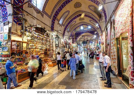 ISTANBUL - MAY 27, 2013: Inside the Grand Bazaar in Istanbul. The Grand Bazaar is the oldest and the largest covered market in the world with 61 covered streets and over 3000 shops.