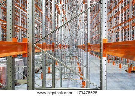 A big modern factory warehouse, inside warehouse