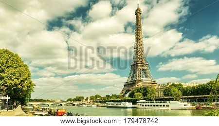 Paris skyline with the Eiffel tower, France. Vintage photo.