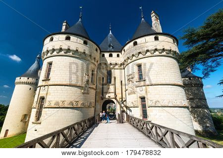 FRANCE - SEPTEMBER 22, 2013: Tourists visiting Chateau de Chaumont-sur-Loire, France. This castle is located in the Loire Valley, was founded in the 10th century and was rebuilt in the 15th century.