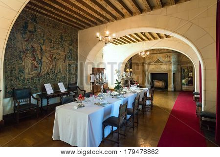 FRANCE - SEPTEMBER 22, 2013: Interior Chateau de Chaumont-sur-Loire, France. This castle is located in the Loire Valley, was founded in the 10th century and was rebuilt in the 15th century.