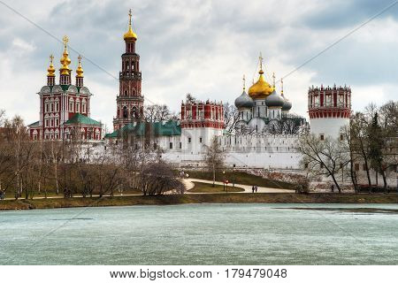 Novodevichy convent in Moscow in the spring, Russia