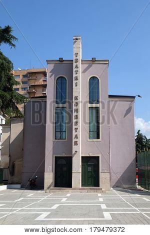 TIRANA, ALBANIA - SEPTEMBER 27: National theater, Rruga Sermedin Toptani in Tirana, Albania on September 27, 2016.