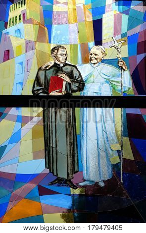 TIRANA, ALBANIA - SEPTEMBER 27: Pope John Paul II, stained glass window in St Paul's Cathedral in Tirana, Albania on September 27, 2016.