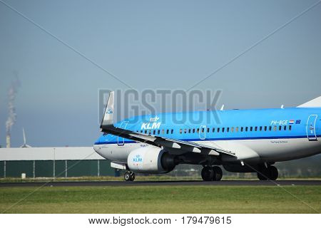 Amsterdam the Netherlands - August 18th 2016: PH-BGE KLM Royal Dutch Airlines Boeing 737 taking off from Polderbaan Runway Amsterdam Airport Schiphol