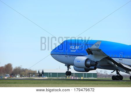 Amsterdam the Netherlands - March 25th 2017: PH-BFY KLM Royal Dutch Airlines Boeing 747-400M takeoff from Polderbaan runway.