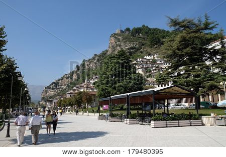 BERAT, ALBANIA - OCTOBER 01, 2016: Old town Berat known as the White City of Albania on October 01, 2016.