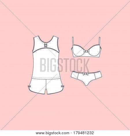 Set of lingerie, panties and bra, pajamas, home clothes.